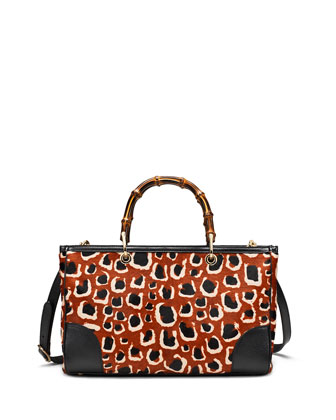 Leopard-Print Calf Hair Bamboo Medium Shopper Tote Bag