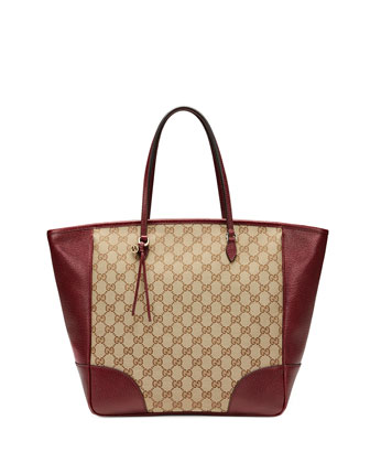 Bree Medium GG Canvas Tote Bag, Brown/Red