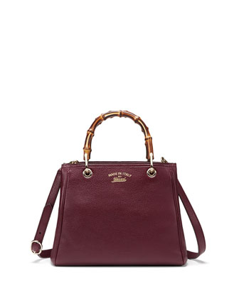 Bamboo Small Shopper Tote Bag, Burgundy
