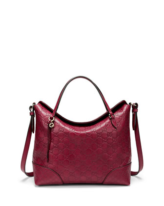Bree Guccissima Leather Top Handle Bag, Dark Red