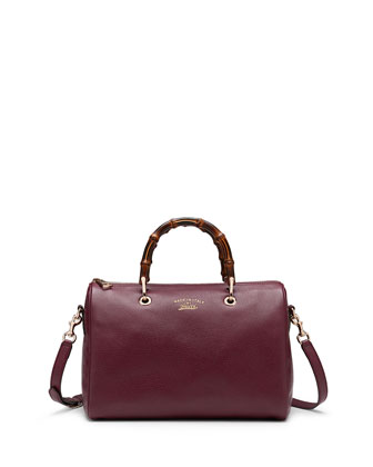 Bamboo Shopper Medium Boston Bag, Burgundy