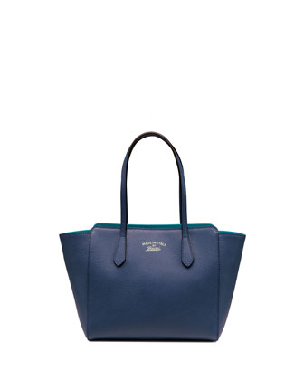 Swing Small Leather Tote Bag, Turquoise