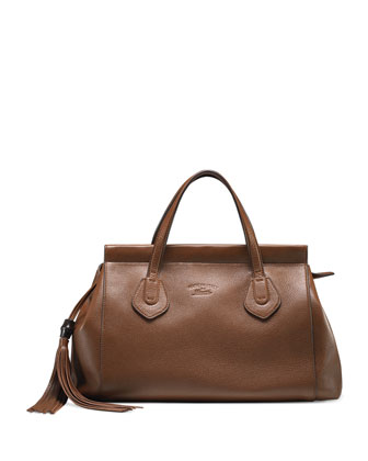 Lady Tassel Medium Leather Top Handle Bag, Brown