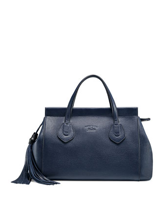 Lady Tassel Medium Leather Top Handle Bag, Navy