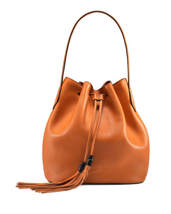 Lady Tassel Medium Bucket Bag, Orange