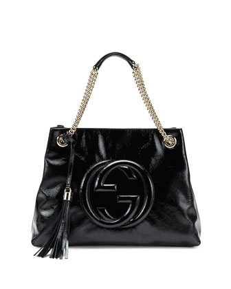Soho Patent Leather Shoulder Bag, Black