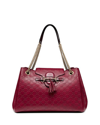 Emily Medium Guccissima Shoulder Bag, Dark Red
