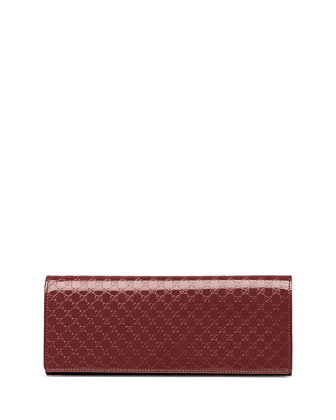 Broadway Microguccissima Patent Leather Evening Clutch, Burgundy
