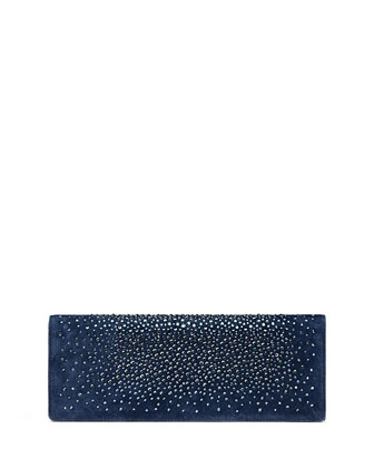 Broadway Suede Crystal Clutch Bag, Navy