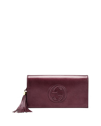 Soho Metallic Leather Clutch Bag, Burgundy