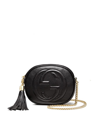 Soho Leather Mini Chain Bag, Black