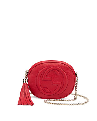 Soho Leather Mini Chain Bag, Red