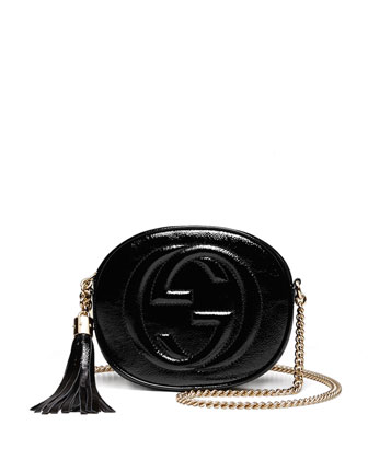 Soho Patent Leather Mini Chain Bag, Black