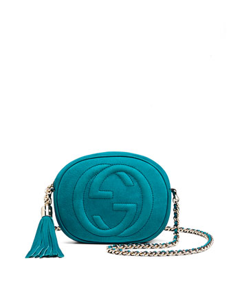 Soho Nubuck Leather Mini Chain Bag, Turquoise