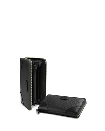 Bright Diamante Leather Zip Around Wallet, Black