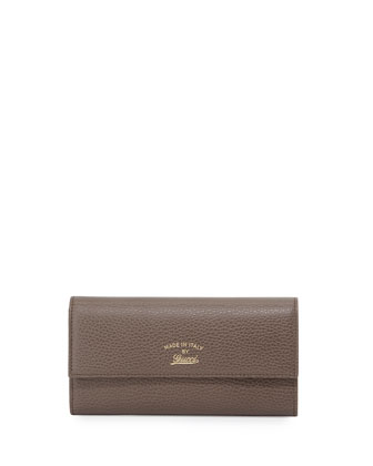 Swing Leather Continental Wallet, Gray/Pink
