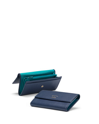 Swing Leather Continental Wallet, Navy/Teal