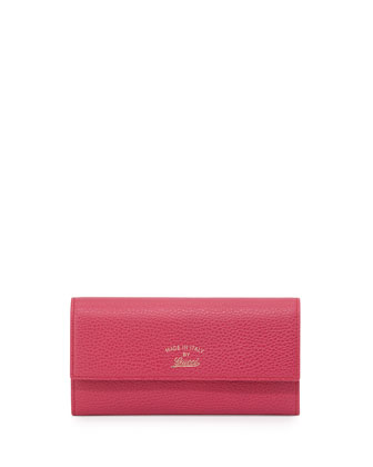 Swing Leather Continental Wallet, Fuchsia