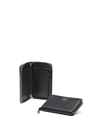 Swing Leather Mini Zip Around Wallet, Black