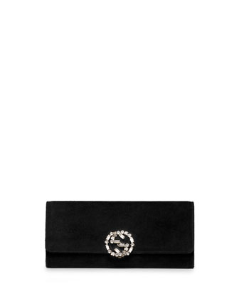 Broadway Suede GG Buckle Clutch Bag, Black