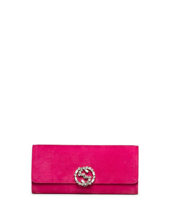 Broadway Suede GG Buckle Clutch Bag, Fuchsia