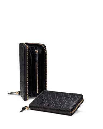 Bree Guccissima Leather Zip Around Wallet, Black