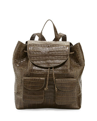 Crocodile Drawstring Backpack, Army Green