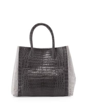 Medium Bicolor Crocodile Tote Bag, Dark Gray/Light Gray