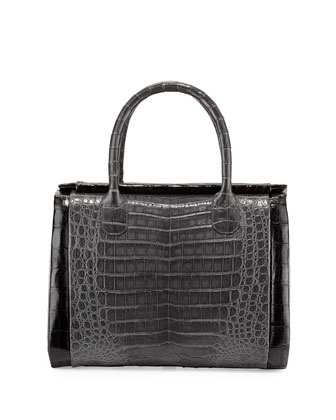 Crocodile Medium Boxcar Bag, Charcoal/Black