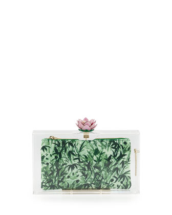 Pandora Lotus Box Clutch, Clear