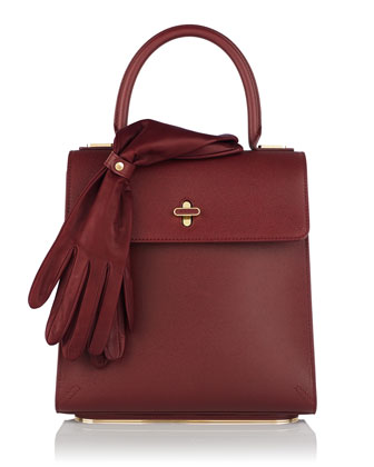 Bogart Leather Top Handle Bag, Burgundy