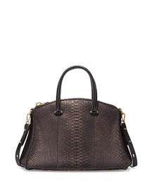 Trevi Python Satchel Bag, Black/Gold