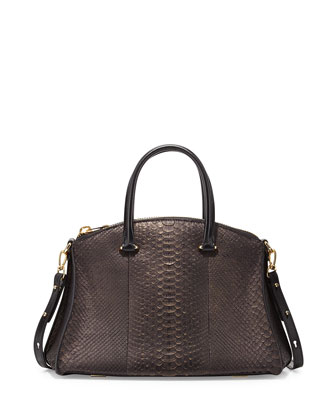 Trevi Python Satchel Bag, Black/Gold