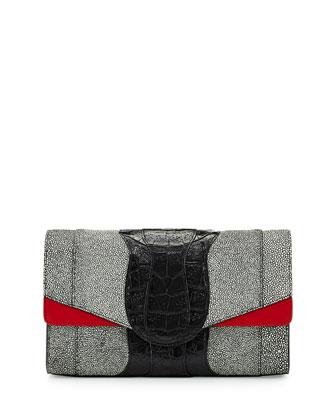 Herzog Stingray-Embossed Shoulder Bag, Black/White