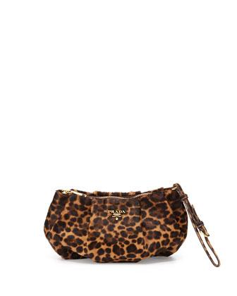 Cavallino Zip Wristlet Bag, Leopard (Miele/Moro)