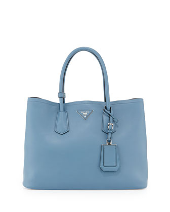 City Calf Double Bag, Denim Blue (Avio)