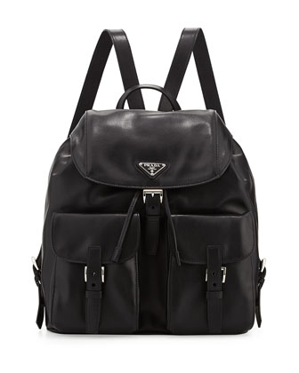 Soft Calf Double-Pocket Backpack, Black (Nero)