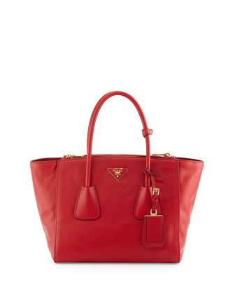 Vitello Twin Pocket Tote Bag, Red (Fuoco)