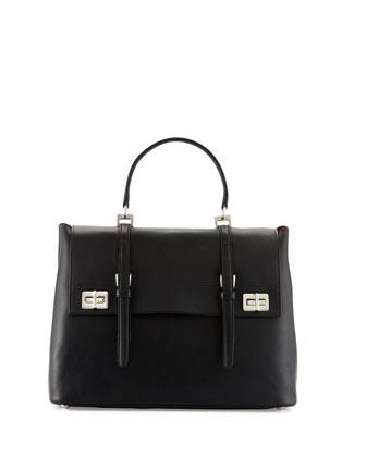 Lux Calf Large Flap Satchel Bag, Black (Nero)