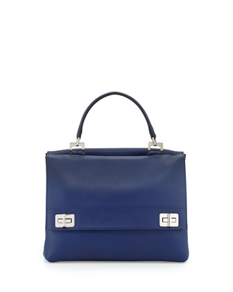 Lux Calf Double-Flap Satchel Bag, Dark Blue (Inchiostro)