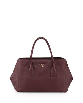 Vitello Daino Garden Tote Bag, Bordeaux (Granato)