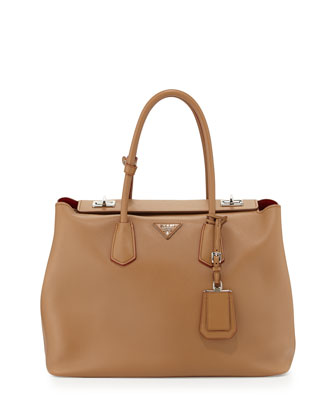 City Calf Large Turn-Lock Twin Bag, Brown (Caramel)