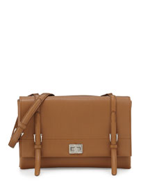 Lux Calf Shoulder Bag, Brown (Caramel)