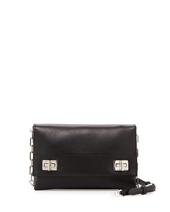 Lux Calf Flap Crossbody Bag, Black (Nero)