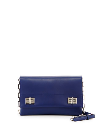 Lux Calf Flap Crossbody Bag, Dark Blue (Inchiostro)