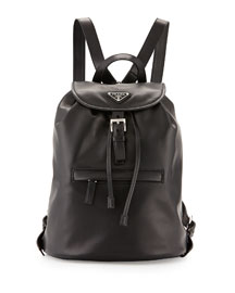 Soft Calfskin Medium Backpack, Black (Nero)