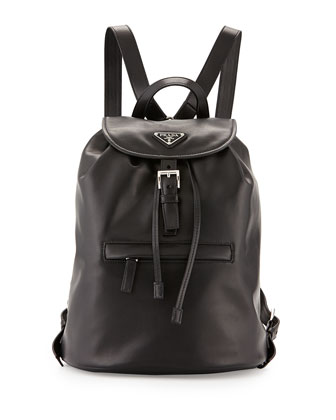 Soft Calfskin Medium Backpack, Black (Nero)