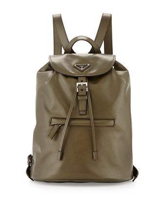 Soft Calfskin Medium Backpack, Olive Green (Militare)