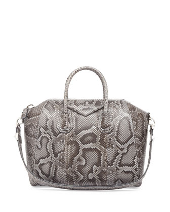Antigona Medium Python Satchel Bag, Gray