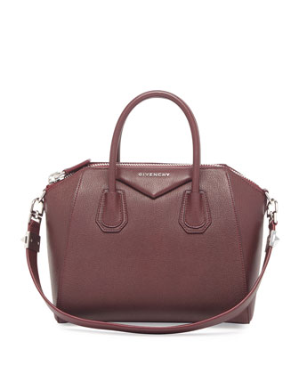 Antigona Small Sugar Satchel Bag, Bordeaux